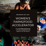 A flyer for the Farm2Food Accelerator program, an online training empowering Florida women farmers and other food producers