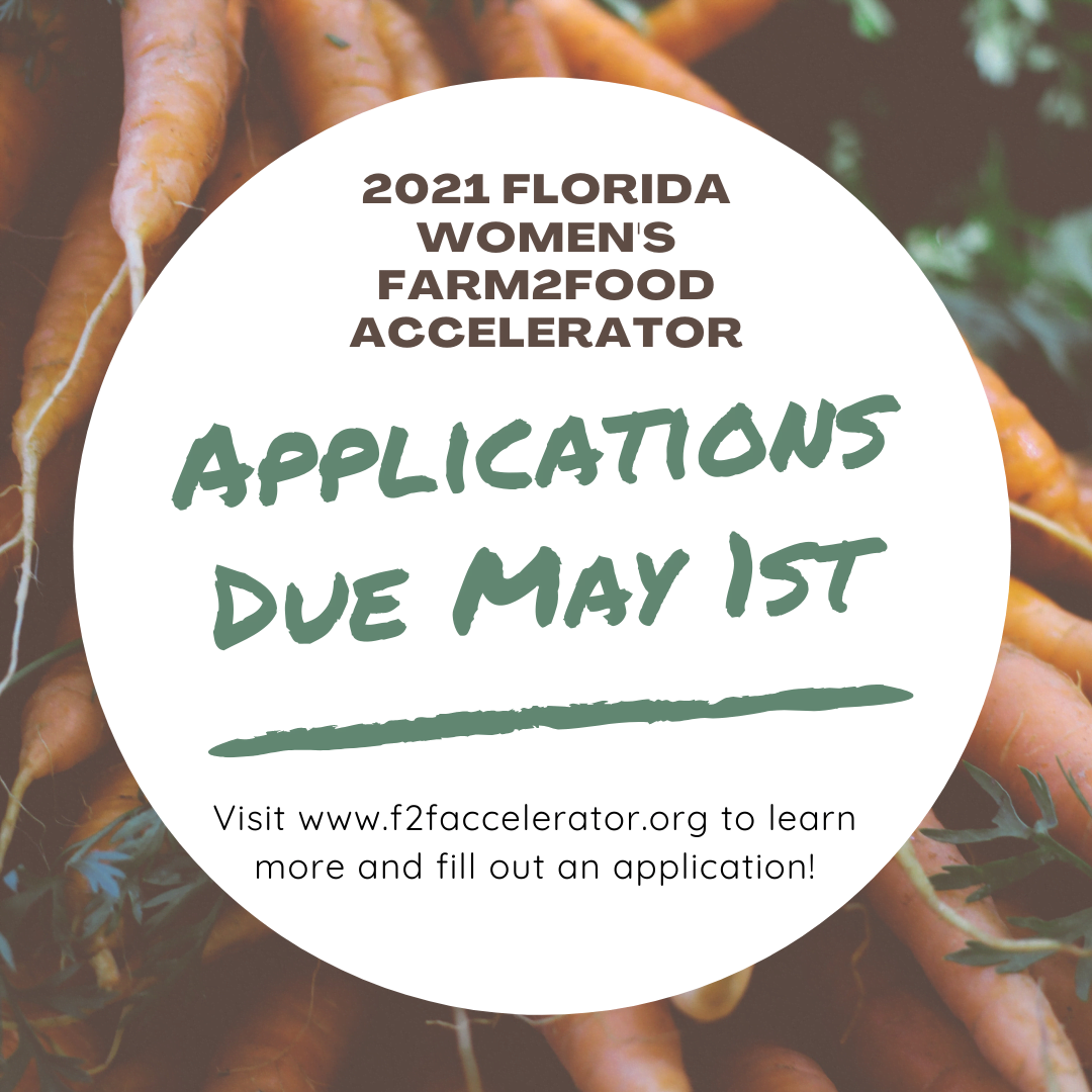 An advertisement for the Farm2Food Accelerator program for Florida women farmers. Applications are due May 1, 2021.