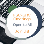 A flyer for the FSC-GNV meetings, which are open to anyone