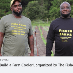 Lennon Fisher, coordinator of Fisher Farms, with his father on their 5th-generation local Black farm in Jonesville, FL