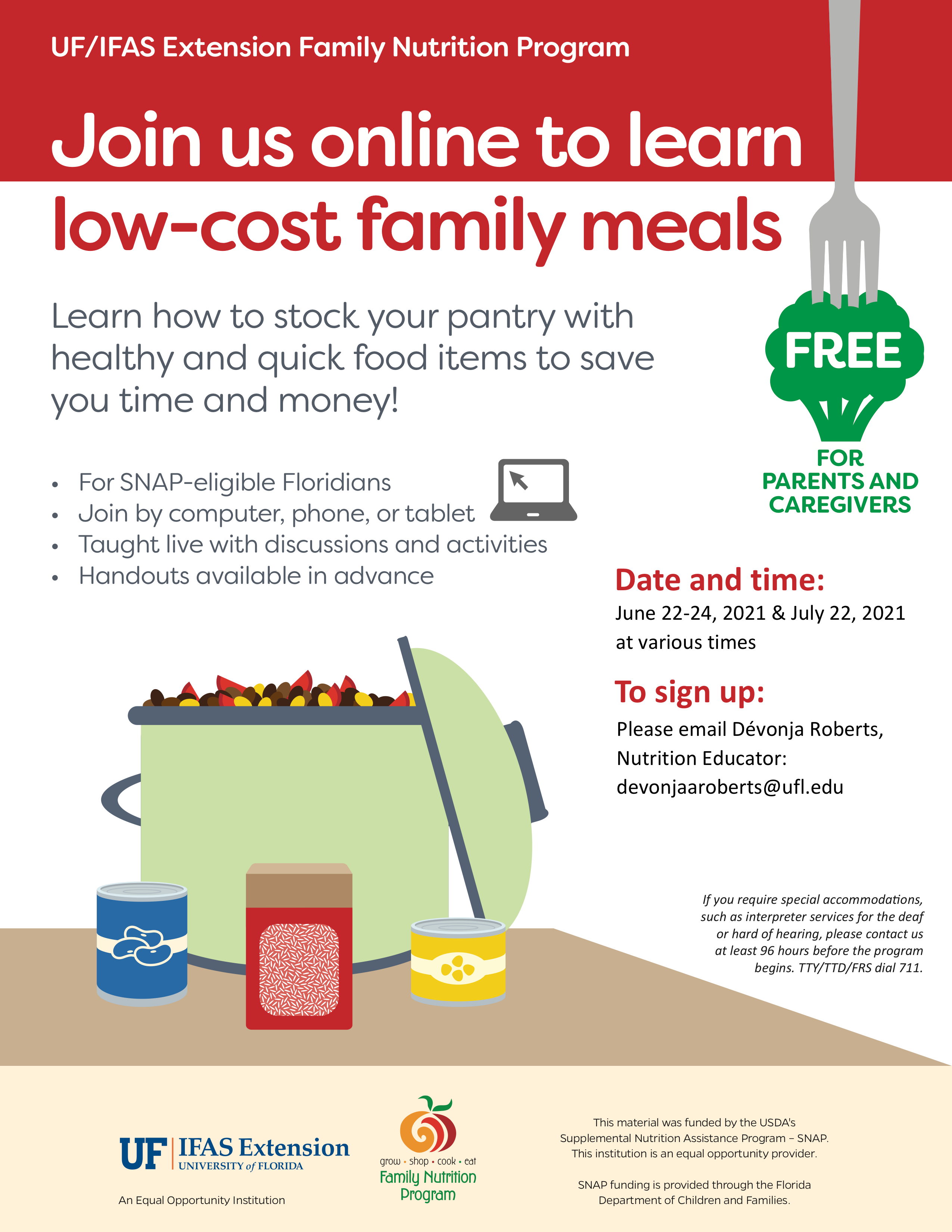 A flyer for a free online session to learn how to cook low-cost family meals