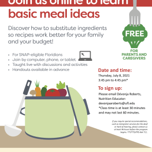 A flyer for a free online session to learn basic meal ideas