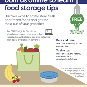 A flyer for a free online session to learn food storage tips