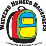 The logo for Catholic Charities Weekend Hunger Backpack Program