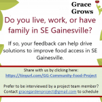 The flyer for a community food planning project in Southeast Gainesville